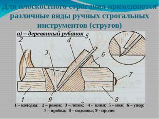 Для плоскостного строгания применяются различные виды ручных строгальных инст