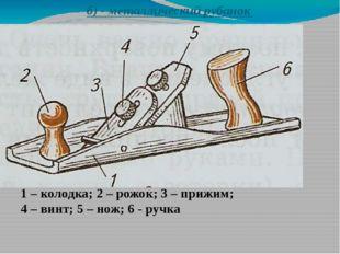 б) - металлический рубанок 1 – колодка; 2 – рожок; 3 – прижим; 4 – винт; 5 –