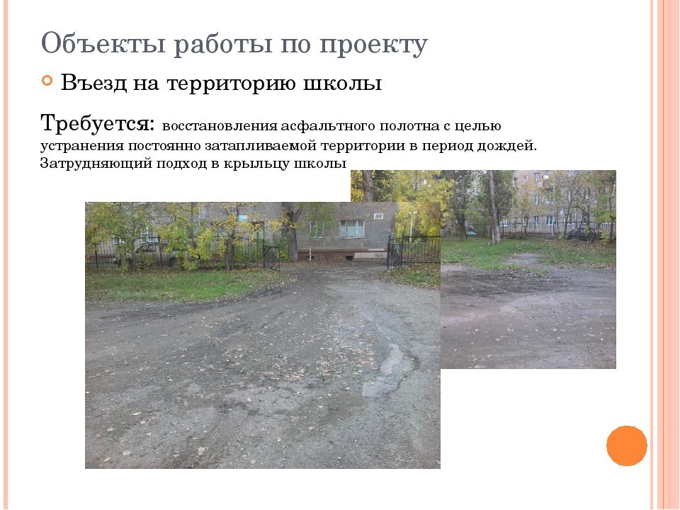 Объекты работы по проекту Въезд на территорию школы Требуется: восстановления...