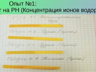 Опыт №1: Опыт на PH (Концентрация ионов водорода).