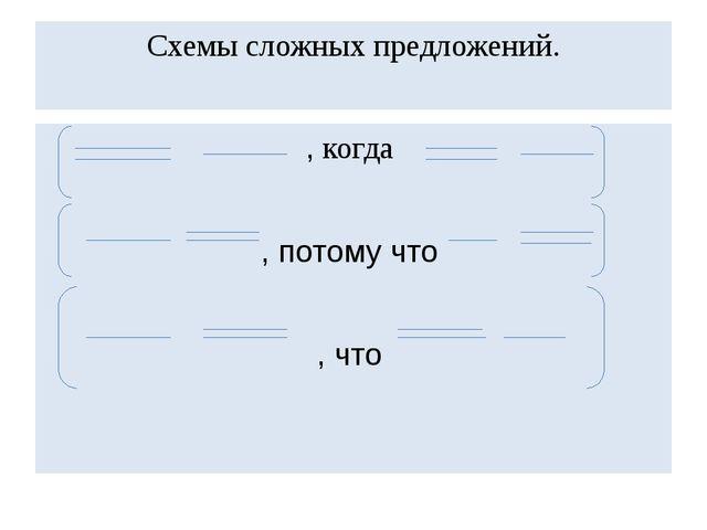 Схемы сложных предложений. , когда , потому что , что