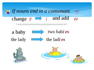 If nouns end in a consonant Y, change y and add es i a baby the lady two babi
