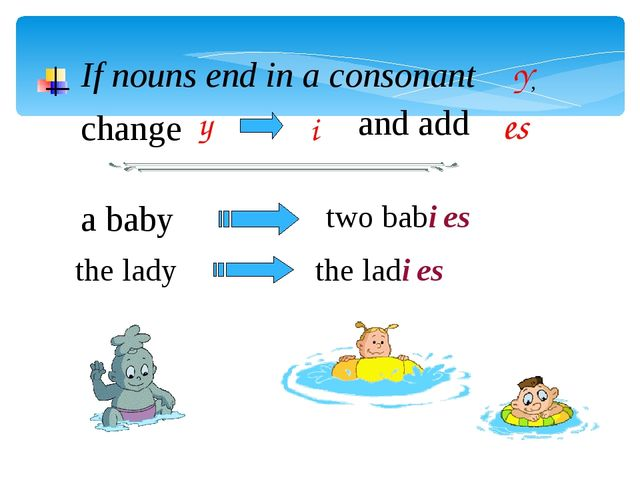 If nouns end in a consonant Y, change y and add es i a baby the lady two babi...