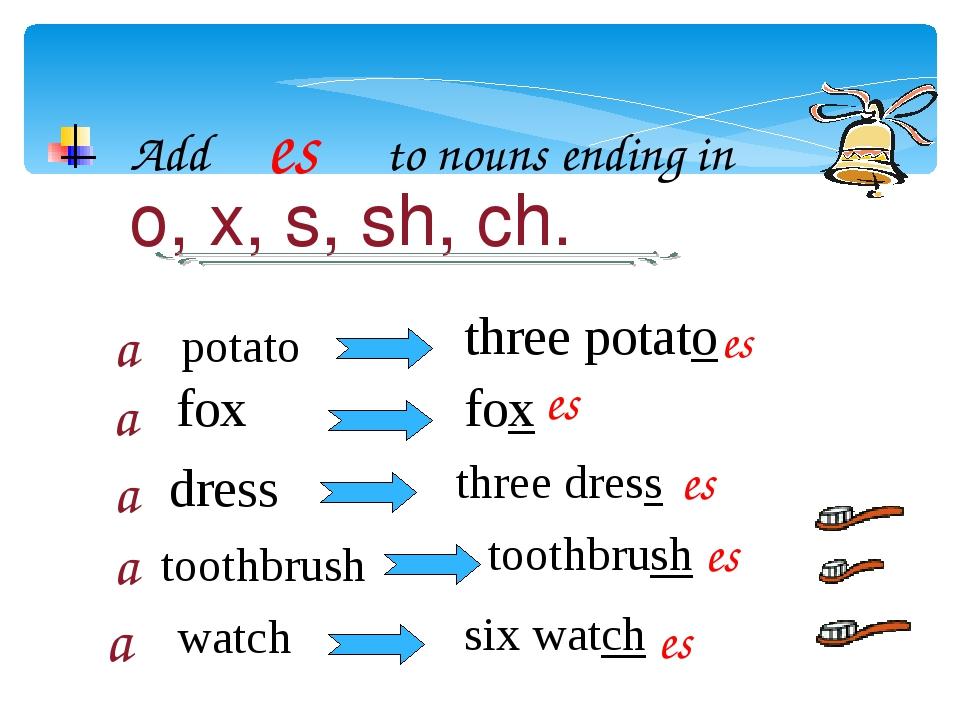 Add es to nouns ending in o, x, s, sh, ch. potato a a a a a fox dress toothbr...