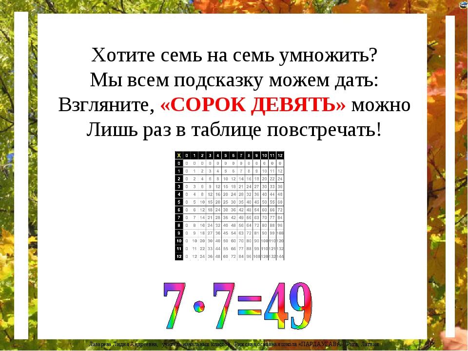 Хотите семь на семь умножить? Мы всем подсказку можем дать: Взгляните, «СОРОК...