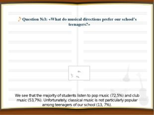 Question №3: «What do musical directions prefer our school's teenagers?» We