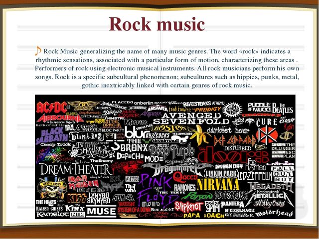 Rock music Rock Music generalizing the name of many music genres. The word «r...