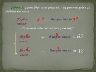 Задача 1. Сумма двух чисел равна 63, а их разность равна 12. Найдите эти числ