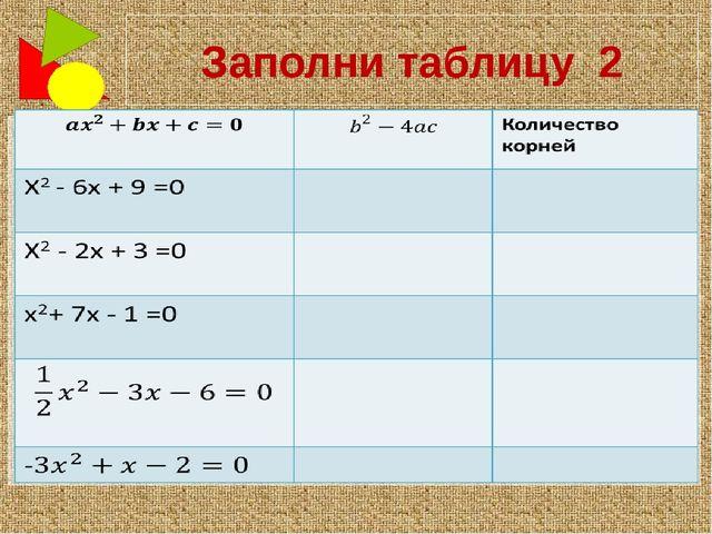 Заполни таблицу 2