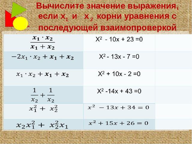 Вычислите значение выражения, если х1 и х 2 корни уравнения с последующей вза...