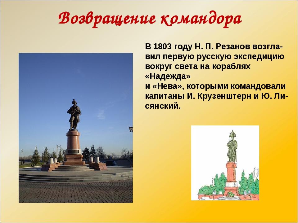 Возвращение командора В 1803 году Н. П. Резанов возгла- вил первую русскую эк...