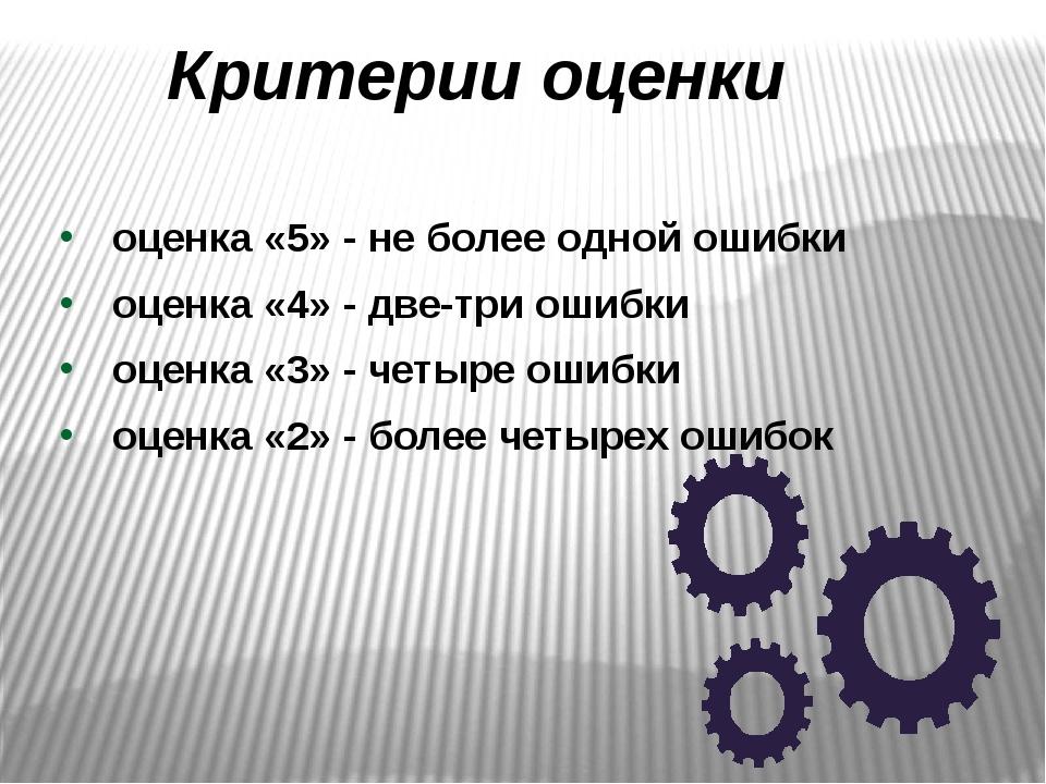 Критерии оценки оценка «5» - не более одной ошибки оценка «4» - две-три ошибк...