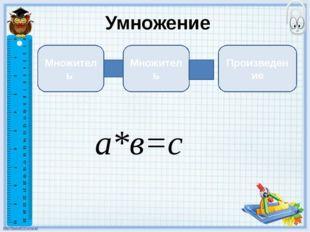 Умножение Множитель Множитель Произведение а*в=с