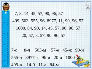 7, 8, 14, 45, 57, 90, 96, 57 499, 503, 555, 96, 8977, 11, 90, 96, 57 1000, 8