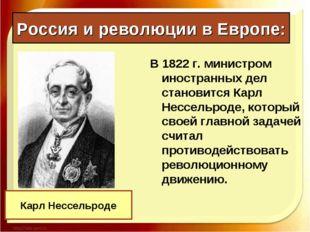Россия и революции в Европе: В 1822 г. министром иностранных дел становится К