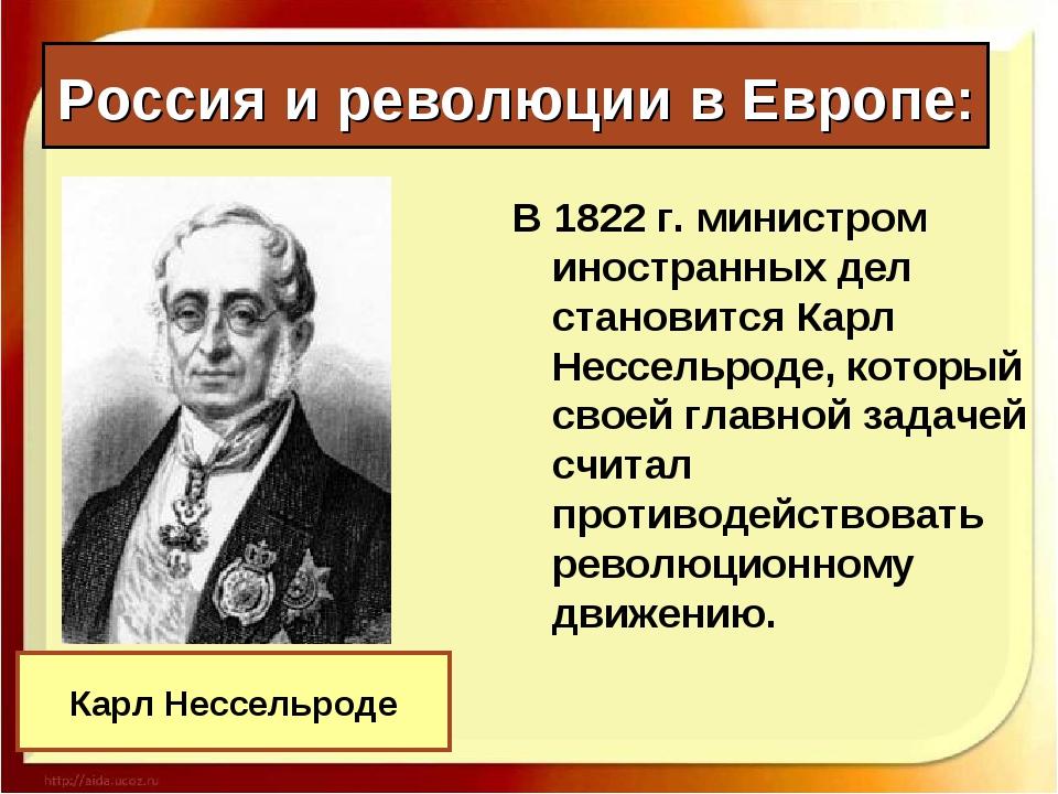 Россия и революции в Европе: В 1822 г. министром иностранных дел становится К...