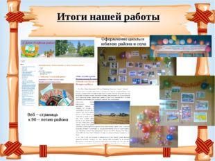 Итоги нашей работы Веб – страница к 90 – летию района Оформление школы к юби
