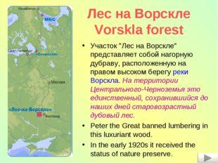 """Лес на Ворскле Vorskla forest Участок """"Лес на Ворскле"""" представляет собой наг"""