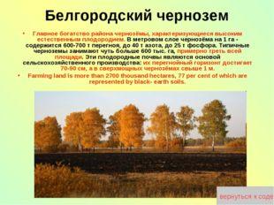 Главное богатство района чернозёмы, характеризующиеся высоким естественным пл