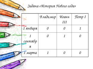 Задача «История Нового года» Владимир ИоаннIII ПетрI 1 января 0 0 1 1 сентябр