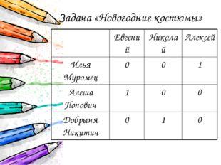 Задача «Новогодние костюмы» Евгений Николай Алексей Илья Муромец 0 0 1 Алеша
