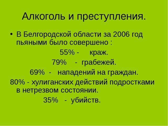 Алкоголь и преступления. В Белгородской области за 2006 год пьяными было сове...