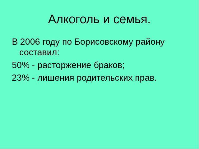 Алкоголь и семья. В 2006 году по Борисовскому району составил: 50% - расторже...