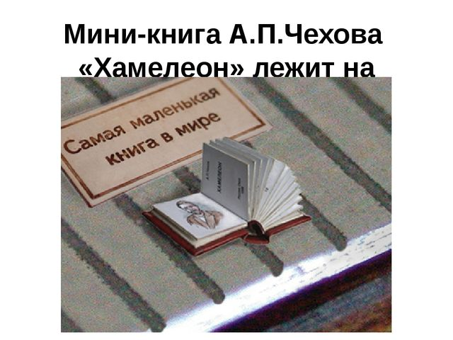 Мини-книга А.П.Чехова  «Хамелеон» лежит на линейке