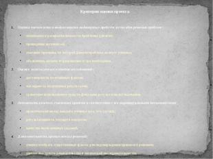 Критерии оценки проекта. Оценка значимости и актуальности выдвинутых проблем