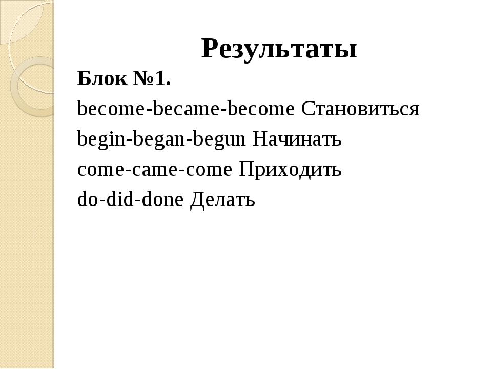 Результаты Блок №1. become-became-become Становиться begin-began-begun Начина...