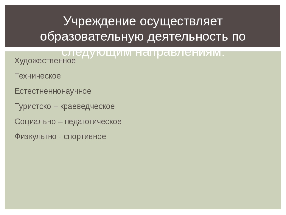Художественное Техническое Естестненнонаучное Туристско – краеведческое Социа...
