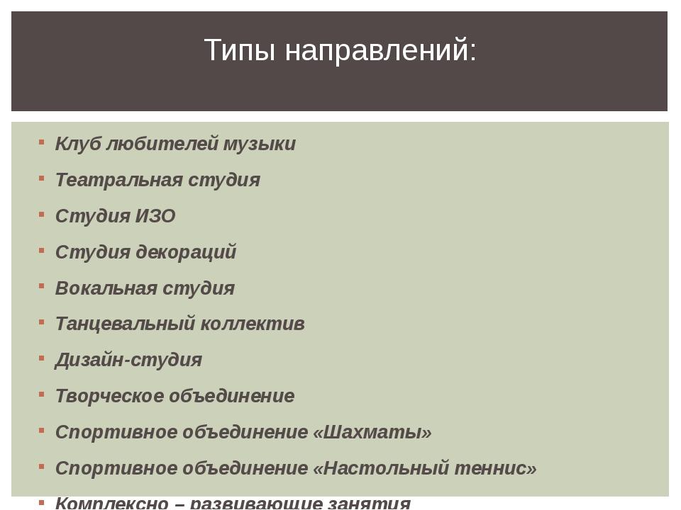 Клуб любителей музыки Театральная студия Студия ИЗО Студия декораций Вокальна...