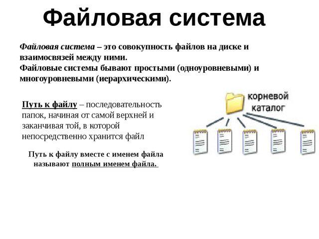 Файловая система – это совокупность файлов на диске и взаимосвязей между ними...