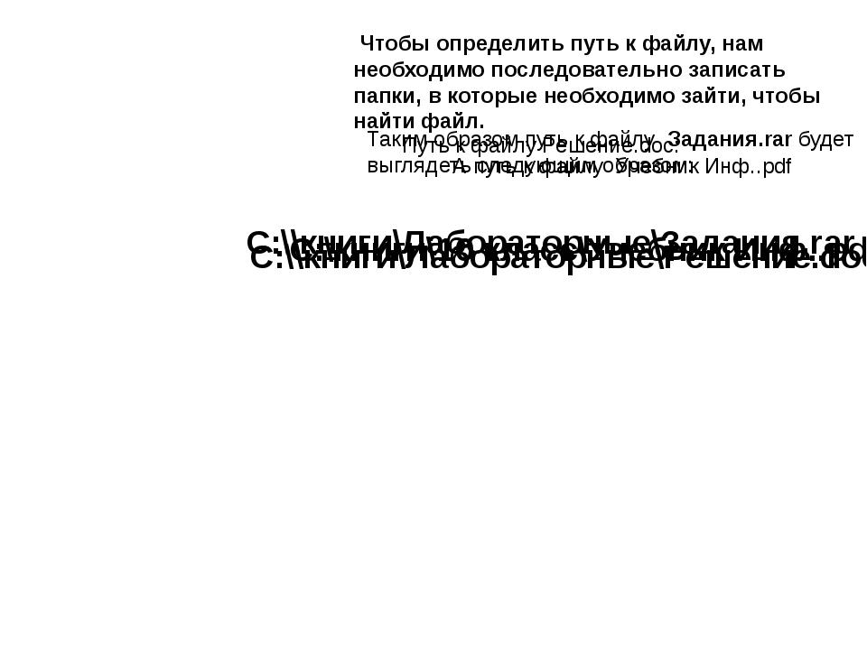 Таким образом путь к файлу Задания.rar будет выглядеть следующим образом: С:\...