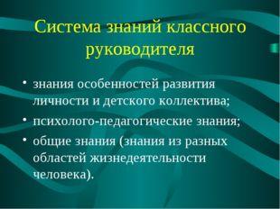 Система знаний классного руководителя знания особенностей развития личности и
