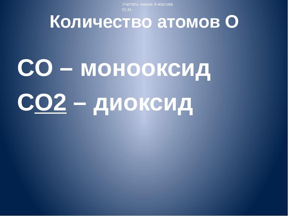 Количество атомов O СO – монооксид CO2 – диоксид Учитель химии Ачкасова Ю.М.