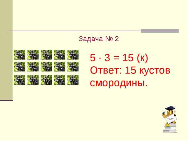Задача № 2 5 · 3 = 15 (к) Ответ: 15 кустов смородины.