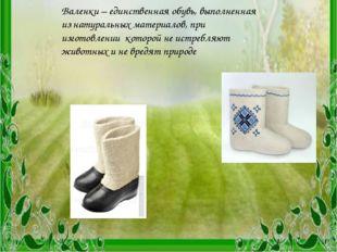 Заключение Валенки – единственная обувь, выполненная из натуральных материало