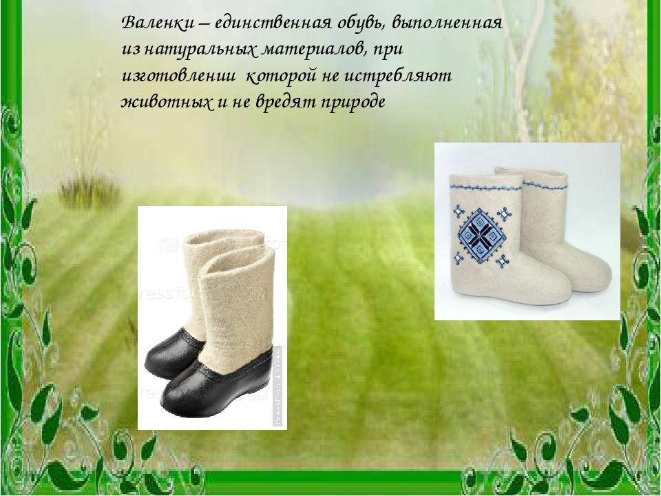 Заключение Валенки – единственная обувь, выполненная из натуральных материало...