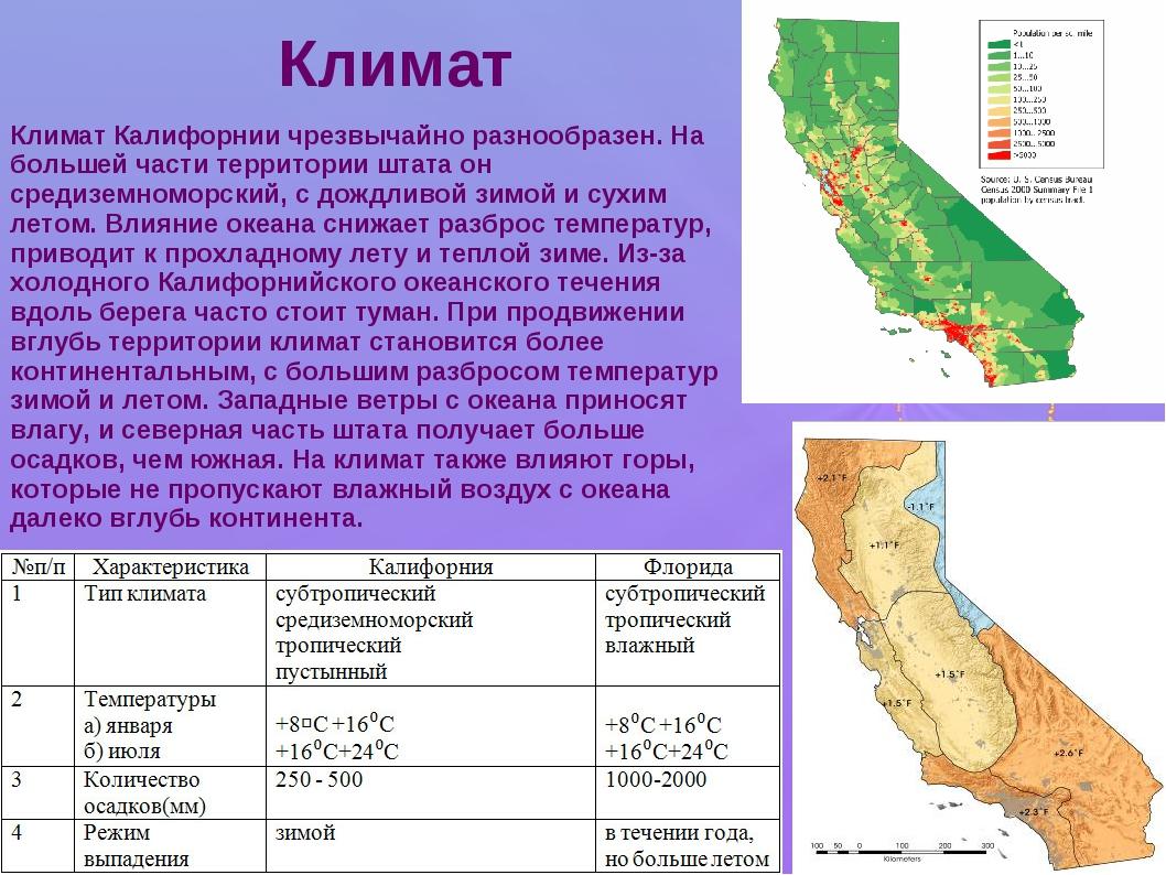 Климат Климат Калифорнии чрезвычайно разнообразен. На большей части территори...