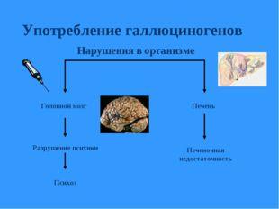 Употребление галлюциногенов Головной мозг Психоз Печень Печеночная недостаточ