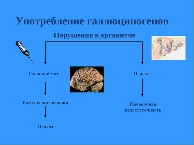 Употребление галлюциногенов Головной мозг Психоз Печень Печеночная недостаточ...