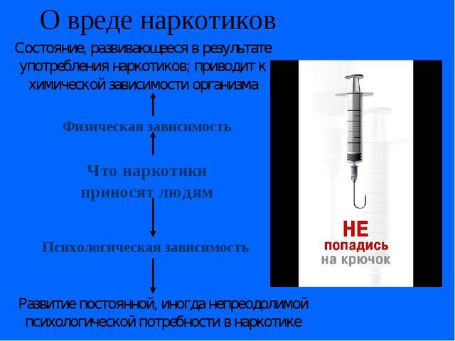 О вреде наркотиков Что наркотики приносят людям Физическая зависимость Психол...