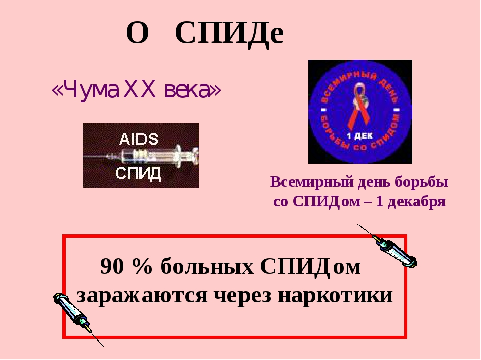 О СПИДе «Чума XX века» Всемирный день борьбы со СПИДом – 1 декабря 90 % больн...