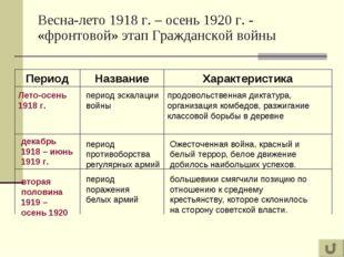 Весна-лето 1918 г. – осень 1920 г. - «фронтовой» этап Гражданской войны Перио