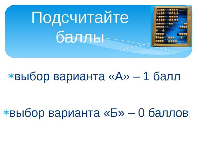 выбор варианта «А» – 1 балл выбор варианта «Б» – 0 баллов Подсчитайте баллы