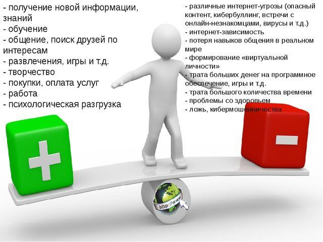 - получение новой информации, знаний - обучение - общение, поиск друзей по ин...
