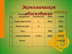 Экономическое обоснование №Название материалов Количество Цена Сумма 1 Т