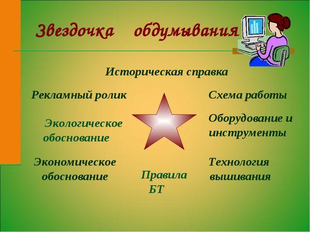 Звездочка обдумывания Историческая справка Экологическое обоснование Оборудов...
