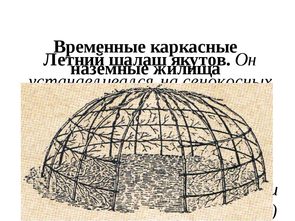 Временные каркасные наземные жилища Летний шалаш якутов. Он устанавливался н...